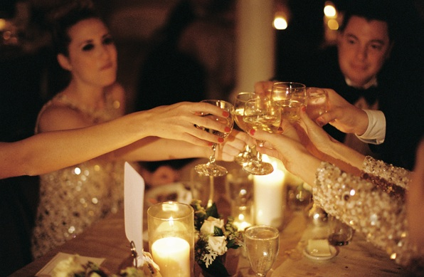 new-orleans-black-tie-wedding-reception-champagne-toast-gold-elegant