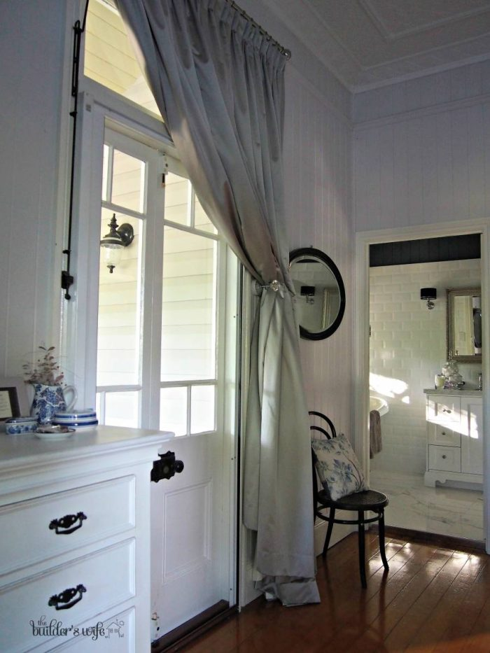 Winows and doors in a Queenslander deserve beautiful dressings, we used silk curtains in ours.