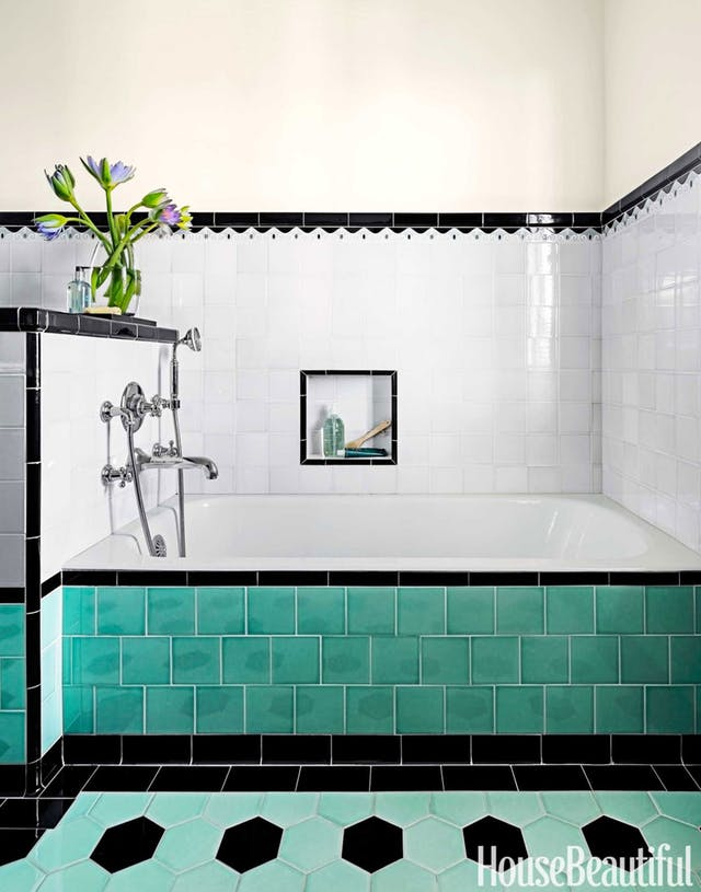 art deco style bathroom colourful bathroom tiling
