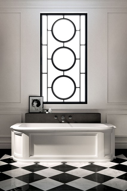 atrt deco style bathrooms tiling black and white